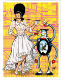 """Memorabilia:Comic-Related, Chris """"Coop"""" Cooper - Beehive and Robo-Butler on Wood Signed Limited Silkscreened Print #36/100 (2015)...."""
