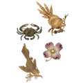 Estate Jewelry:Brooches - Pins, Diamond, Multi-Stone, Cultured Pearl, Gold Brooches . ... (Total: 4 Items)
