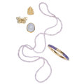 Estate Jewelry:Lots, Lavender Jadeite Jade, Quartz, Gold Jewelry. ... (Total: 5 Items)