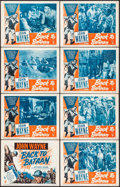 "Movie Posters:War, Back to Bataan (RKO, R-1950). Lobby Card Set of 8 (11"" X 14"").War.. ... (Total: 8 Items)"