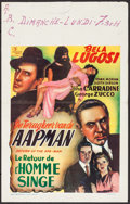 "Movie Posters:Horror, Return of the Ape Man (Luxus, Late 1940s). Belgian (15.5"" X 24"").Horror.. ..."