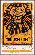 """Movie Posters:Animation, The Lion King on Broadway (Disney Theatrical Productions, 2006). Autographed Theatre Window Card (14"""" X 22""""). Animation.. ..."""