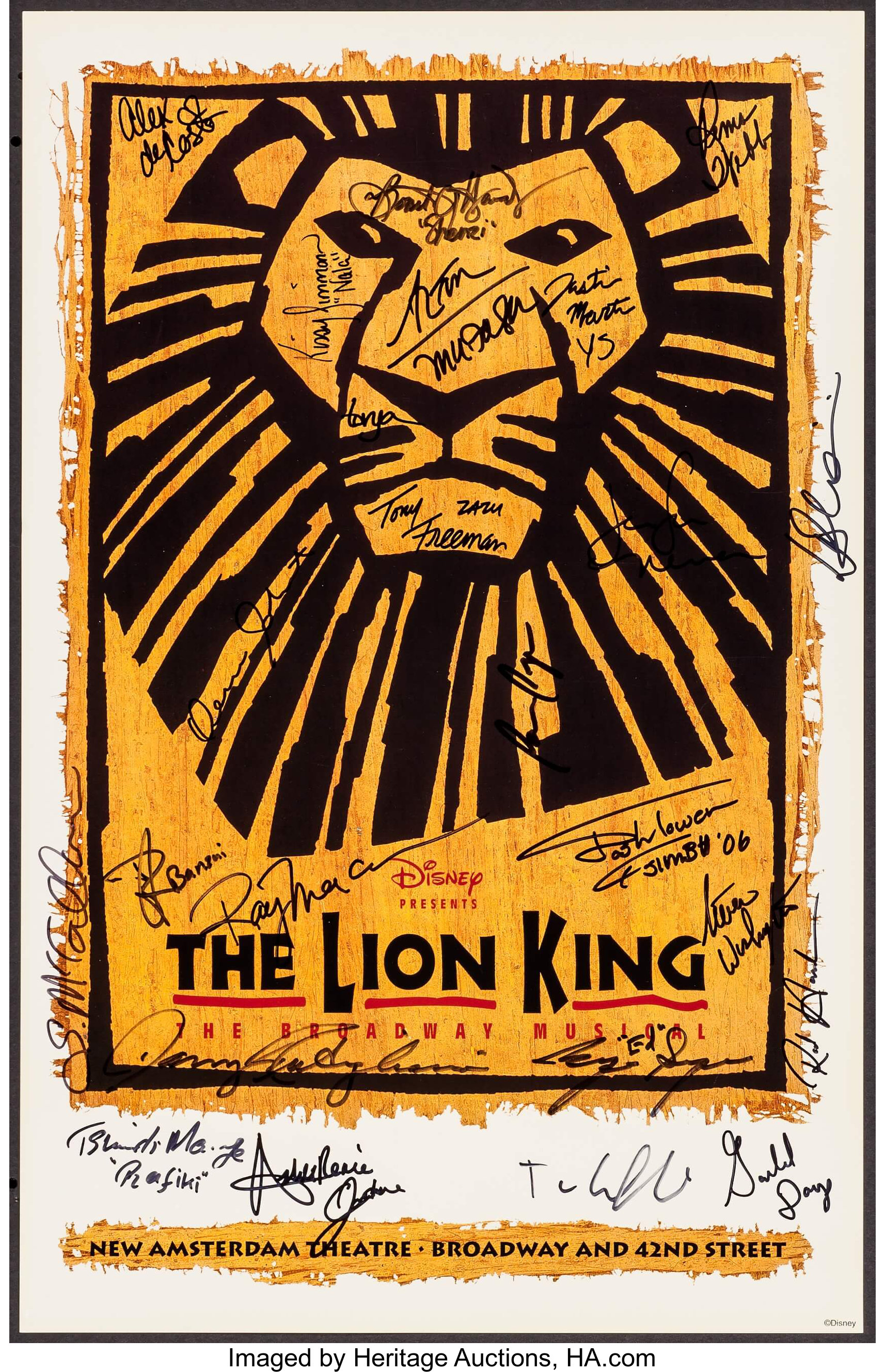 The Lion King On Broadway Disney Theatrical Productions 2006 Lot 54265 Heritage Auctions