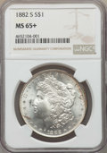 Morgan Dollars, 1882-S $1 MS65+ NGC. NGC Census: (19323/8415 and 243/238+). PCGS Population: (19284/6300 and 277/334+). MS65. Mintage 9,250...
