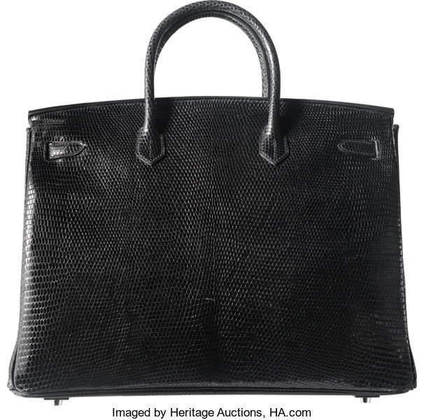 582bdbd3a1 Hermes 40cm Shiny Black Niloticus Lizard Birkin Bag with