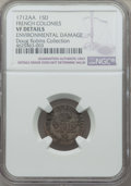 "French Colonies, French Colonies: Louis XIV 15 Deniers (""1/2 Mousquetaire"") 1712-AA VF Details (Environmental Damage) NGC,..."