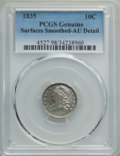 Bust Dimes, 1835 10C -- Surface Smoothing -- PCGS Genuine. AU Details. NGCCensus: (16/370). PCGS Population: (59/374). AU50. Mintage 1...