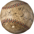 Baseball Collectibles:Balls, 1927 Babe Ruth Home Run #48 Baseball Signed and Notated in Ruth's Hand!. ...
