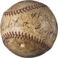 1927 Babe Ruth Home Run #48 Baseball Signed and Notated in Ruth's Hand!