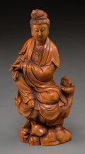 Asian:Chinese, A Chinese Carved Boxwood Guanyin Figure. 5-3/4 inches high (14.6cm). ...
