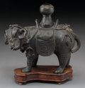 Asian:Chinese, A Chinese Bronze Elephant Censer on Hardwood Stand, early QingDynasty, 17th century. 5-3/4 h x 6-3/4 w x 2-3/4 d inches (14...