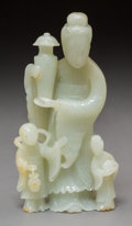 Asian:Chinese, A Chinese Carved Jade Figural Group of a Beauty with TwoAttendants, Qing Dynasty. 6-5/8 inches high (16.8 cm). ...
