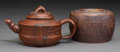 Asian:Chinese, A Chinese Yixing Pottery Teapot and Covered Jar. Marks:Four-character seals. 3-1/2 inches high x 4 inches diameter (8.9 x1... (Total: 2 Items)