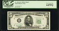 Small Size:Federal Reserve Notes, Fr. 1961-B* $5 1950 Wide I Federal Reserve Star Note. PCGS Very Choice New 64PPQ.. ...