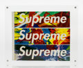 Prints & Multiples, Supreme . Stickers, set of three, n.d.. Screenprint on paper with adhesive. 8 x 2 inches (20.3 x 5.1 cm). Published by S...