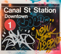 Cope2 (American, b. 1968) Canal Street Station, 2012 Ink jet print with acrylic and enamel on paper<