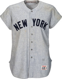 1964 Mickey Mantle World Series Home Run Record-Setting Game Worn New York Yankees Jersey, MEARS A9
