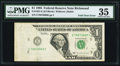 Error Notes:Foldovers, Fold Over Error. Fr. 1921-E $1 1995 Federal Reserve Note. PMGChoice Very Fine 35.. ...