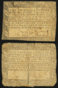 Colonial Notes, Maryland December 7, 1775 $1/3 Very Good Two Examples.. ... (Total:2 notes)