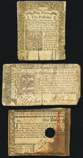 Colonial Notes, Connecticut, Maryland, and Massachusetts Colonials Three Examples..... (Total: 3 notes)
