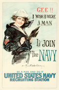 "Movie Posters:War, World War I ""Christy Girl"" Recruiting Poster (U.S. Navy, 1917). Howard Chandler Christy Poster (26.75"" X 41""). ""Gee, I Wish ..."