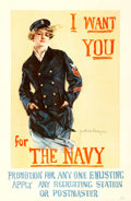 """Movie Posters:War, World War I """"Christy Girl"""" Recruiting Poster (U.S. Navy, 1917). Howard Chandler Christy Poster (27"""" X 41""""). """"I Want You for ..."""