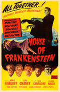 Movie Posters:Horror, House of Frankenstein (Realart, R-1950). One Sheet...