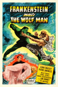 """Movie Posters:Horror, Frankenstein Meets the Wolf Man (Realart, R-1949). One Sheet (27"""" X41"""").. ..."""
