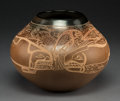 American Indian Art:Pottery, A Contemporary Santa Clara Etched Brownware Jar. Jody Folwell...