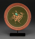 American Indian Art:Pottery, A Contemporary San Ildefonso Etched Green and Redware Plate.Russell Sanchez...