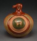 American Indian Art:Pottery, A Contemporary San Ildefonso Etched Lidded Polychrome Jar. RussellSanchez...
