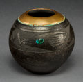 American Indian Art:Pottery, A Contemporary San Ildefonso Blackware JarRussell Sanc...