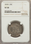 Bust Quarters: , 1818 25C VF30 NGC. NGC Census: (16/272). PCGS Population: (80/359).Mintage 361,174. ...