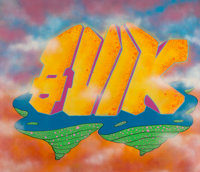 QUIK (American, b. 1958) Dreams of Temptation, 1988 Spray paint in colors on canvas 71 x 83 inche
