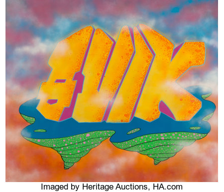 QUIK (American, b. 1958)Dreams of Temptation, 1988Spray paint in colors on canvas71 x 83 inches (180.3 x 210.8 cm)...