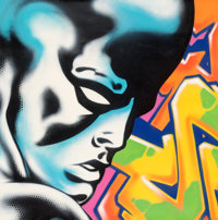 Seen UA (American, b. 1961) Silver Surfer, c. 2013 Aerosol in colors on canvas 45-5/8 x 45-5/8 in