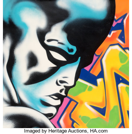 Seen UA (American, b. 1961) Silver Surfer, c. 2013 Aerosol in colors on canvas 45-5/8 x 45-5/8 inches (115.9 x 115.9 ...