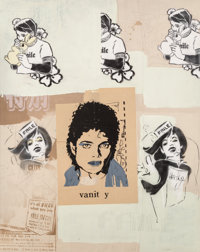 FAILE (American, 20th/21st Century) Untitled, 2000 Acrylic and mixed media on board 60-3/8 x 48 i
