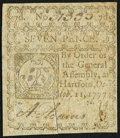 Colonial Notes:Connecticut, Connecticut October 11, 1777 7d Slash Cancel Fine-Very Fine.. ...