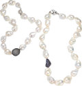 Estate Jewelry:Necklaces, Baroque Freshwater Cultured Pearl, Multi-Stone, White Gold, White Metal Necklaces. ... (Total: 2 Items)