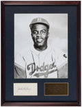 Autographs:Index Cards, Jackie Robinson Signed Cut Signature Display. . ...