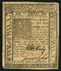 Colonial Notes:Delaware, Delaware January 1, 1776 5s Extremely Fine-About New.. ...