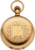Timepieces:Pocket (pre 1900) , Independent Watch Co. 14k Gold 18 Size Gold Flashed Movement. ...
