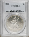 Proof Seated Dollars: , 1862 $1 PR61 PCGS. PCGS Population (10/126). NGC Census: (6/134).Mintage: 550. Numismedia Wsl. Price for NGC/PCGS coin in ...