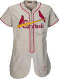 Baseball Collectibles:Uniforms, 1951 Stan Musial Game Worn & Signed St. Louis Cardinals Uniform, MEARS A8--Photo Matched to 1954 Red Heart Trading Card!. ...
