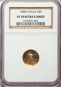Modern Bullion Coins, 1988-P $5 Tenth-Ounce Gold Eagle PR70 Ultra Cameo NGC. NGC Census: (1877). PCGS Population: (439). Mintage 143,881. ...