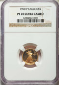 Modern Bullion Coins, 1990-P $5 Tenth-Ounce Gold Eagle PR70 Ultra Cameo NGC. NGC Census: (1554). PCGS Population: (521). Mintage 99,349. ...