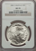 Modern Issues, 2001-D $1 Buffalo Silver Dollar MS70 NGC. NGC Census: (2027). PCGS Population: (1662). ...