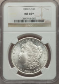 Morgan Dollars: , 1880-S $1 MS66+ NGC. NGC Census: (11675/3506 and 318/118+). PCGS Population: (11073/2510 and 482/306+). MS66. Mintage 8,900...
