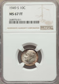 Roosevelt Dimes, 1949-S 10C MS67 Full Bands NGC. NGC Census: (17/0). PCGS Population: (18/0). Mintage 13,510,000. ...